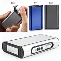 automatic cigarette case - Aluminum Pocket Cigarette Case Automatic Ejection Box Holder Silver Black Blue cigarettes durable Men Top Grade
