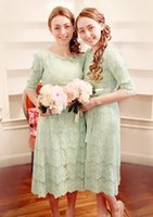 tea length bridesmaid dresses - 2015 Lace Bridesmaid Dresses Cheap Crew Neck Half Sleeves Mint Green Plus Size Tea Length Honor of Maid Wedding Party Dresses