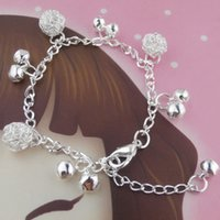bell sets - National Style Sterling Silver Chain Bracelet Anklet Fashion Jewelry Silver Bola Bell Charms Bracelet B393