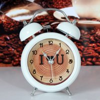 Wholesale Fashion rustic oil painting lounged flower small alarm clock mute back light small bedside alarm clock