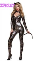 Wholesale sexy lingerie leopard catsuit hallow out gliding cosplay Costume Adult Size bodysuits women clubwear catwoman Zentai nightgown costume