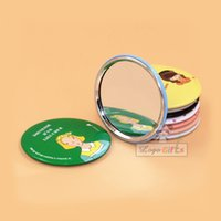Wholesale pocket mirror accessories folding aluminum alloy cute round hand mirror with your logo customized girls gifts