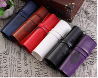 Wholesale 100 Brand New Retro Bandage Leather Pen Bag Pencil Case Makeup Cosmetic Pouch Purse Is Very Original A Great Option of Gift