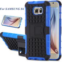2015 Kickstand caso híbrido para la galaxia S6 S de Samsung VI G9200 Impactó las cajas traseras resistentes del teléfono Cubierta Shell para la galaxia S6 de Samsung