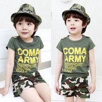 Summer baby boy camo - S Baby Boy Kids Summer Clothes Short Sleeve T shirt Tops Camo Combat Pants kids letter Outfits