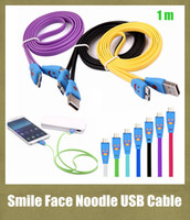flat light - colorful usb cable Micro USB m Visible Led Light Smile Face Flat Noodle USB Data Sync Charge Cable fit Samsung S5 S4 S3 note CAB005