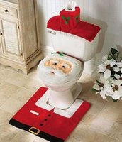 Wholesale Christmas Santa Claus Toilet Tank Lid Cover Mats Toilet Seat Cover Rug Bathroom Set Holiday New Year Supplies Baubles Decoration