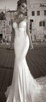 Cheap 2015 Sexy Vintage Mermaid Lace Beach Wedding Dresses Sweetheart Spaghetti Strap Backless Applique Lace Stretch Satin Bridal Dress
