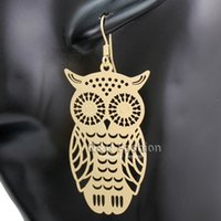 artisan gold jewelry - Flat Gold Cut Out Filigree Owl Handcrafted Artisan Dangle Diva Earrings Pagan Jewelry