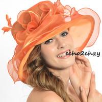 dress hats - Womens Church Organza Wedding Bridal Dress Summer Hat Beautiful Flower Wide Brim Popular Hats SS035 Colors