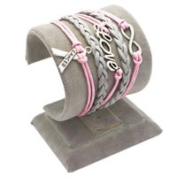 Cheap Wholesale-Silver Infinity Infinity Breast Cancer Love Charm Pink Wax Cord Gray Braided PU Leather Awareness Ribbon Bracelet