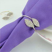 Wholesale Fashion Futaba Grass Crystal Rhinestone Napkin Rings Metal Tablecloth Ring For Hotel Wedding Banquet Table Decoration Accessories