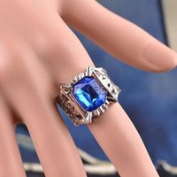 Wholesale HOT Anime Black Butler Ciel Phantomhive Blue Crystal Ring Cosplay Costume Props Toy