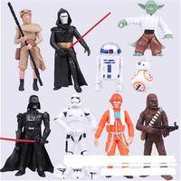 baby luke - Star Wars Toys set Yoda Darth Vader Stormtrooper R2 D2 Luke Skywalker Chewbacca PVC Action Figures kids toys boy baby gift
