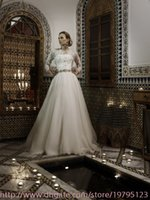 Cheap 2014 Hot A Line Wedding Dresses Sexy White Strapless Backless Shiny Beaded Sequins Bridal Gowns With High Neck 3 4Long Sleeves Jacket BO4916