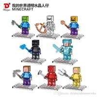 Wholesale 8PCS Minecraft Steve Zombie Skeleton Enderman transparent Building Block Toys Assembly Toy Compatible Action Toy Figures For Gift