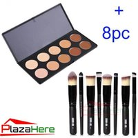 makeup kit - 10 Colors Contour Face Cream Makeup Concealer Palette Professional Professional Bamboo Foundation Cosmetic Makeup Brush set Kit