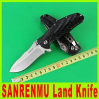 Wholesale Sanrenmu China - 201411 New China SANRENMU Land Knife Excellent EDC Pocket Knife 440C 58HRC Blade G10 Handle Folding Survival Hiking Knife 510X