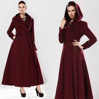 Cheap 2014 autumn fashion women red woolen overcoat women's long wool winter coats woman cashmere trench coat female clothes manteau
