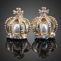 Wholesale V1NF Pair of Colored Diamond Inlaid Artificial Pearl Crown Shape EarStud Earring