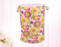 Wholesale Gingham Waterproof Stackable ECO Friendly Storage Laundry Basket Fold Bin Idyllic Style Storage Barrels Housekeeping Pouch Bag