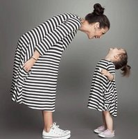 baby fund - Black And White Stripes Of New Fund Of Autumn Parent Child Outfit Girls Dress Baby Girls Long Sleeved Dress