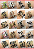 Wholesale 130pcs Designs Women Girls Leather Bracelet Antique Cross Anchor Love Peach Heart Owl Bird Believe Pearl Knitting Bronze Charm Bracelets