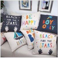 Wholesale Pillowcase Kids Cotton linen pillow case English words Cartoons Decorative Home Cushion Comfortable Back Throw Cove children lovely cm