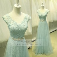 Wholesale 2015 Bridesmaid Dresses Mint Green Lace Appliques V Neck Cap Sleeves A Line Lace Up Crystals Wedding Guest Party Dress Prom Formal Gowns