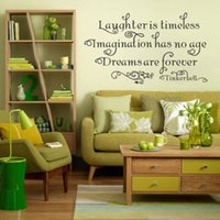 Wholesale 2014 Tinkerbell Quote quot Laughter Is Timeless quot Vinyl Wall Art Decal Sticker Decor HOT