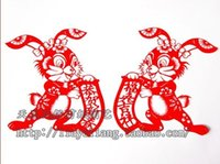 Wholesale handcraft red rabbit year flower chinese folk art craft artistic paper cutting for window decoration happy new year