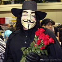 Wholesale New Halloween Party Latex Mask V Mask Masquerade For Vendetta Anonymous Valentine Ball Party Full Face Super Scary Guy Fawkes MYF258