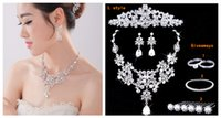 Wholesale 2015 Fashion Pearl Gemstone Jewelry Necklaces Crown Rings Earrings Bridal Wedding Jewelry Set