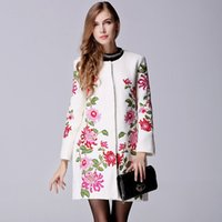 Wholesale 2015 Winter Women Retro Chinese national wind Heavy embroidery flower loose big yards wool coat woolen coat