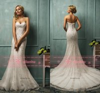 sequin appliques - Amelia Sposa Sweetheart Beaded Sequins Mermaid Wedding Dress Organza Appliques Sweep Train Bridal Gowns AS1270