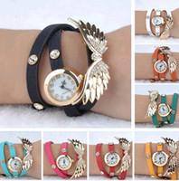 Wholesale Women Girl Angel Wings Bracelet Watch Eagle Wing Rhinestone Leather Quartz Watch