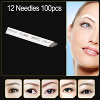 Wholesale 100pcs permanent makeup blade Manual eyebrow tattoo curved needles high quality Individually packed