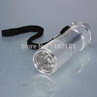 Cheap New 9LED UV Ultra Violet Flashlight Torch Forensics CSI Detection Blood Urine Silver FreeShipping