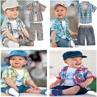 baby clothes london - Retail Set London Baby Clothing Boys Sets Dinosaur T Shirt Plaid Shirt Pants Summer Toddler Baby Boy Layette