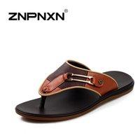 Wholesale ZNPNXNShoes New Summer Beach Sandals Men Slip On Genuine Leather Flip Flops Slippers For Men