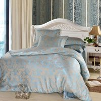 bedding satin sheets - luxury bed set home textile bed sheet satin jacquard bedding set pc bed linen quilt queen king size bedclothes comforters