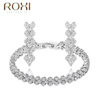 Wholesale ROXI Delicate clear fashion jewelry sets platinum with AAA zircons fashion party Jewelrys best Christmas gifts