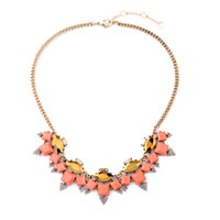Wholesale 2016 Coral Pyramid Stones Choker Necklace Pave Triangle Arrowhead Necklaces Gold Teardrop and Crystal Rectangle Charms