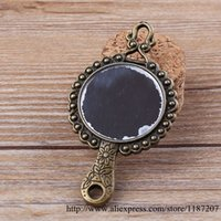 antiqued mirror - DIY Jewelry Accessories Antiqued Bronze Vintage Alloy Double Side Hand Cosmetic Mirror Necklace Pendant Charms mm
