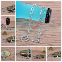 Wholesale Stainless Steel Chain Bracelet Love Heart OT Toggle Clasp Link Chain Fit Clip On Charm Jewelry Making inches