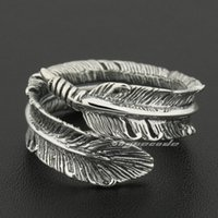 Wholesale Size Adjustable Sterling Silver Feather Mens Rocker Ring S012A US