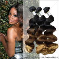 Wholesale Youtube Review Products Three Tone Ombre Brazilian Malaysian Indian Peruvian Virgin Hair Loose Wave Human Hair Weave b