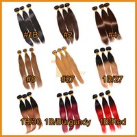 cheap hair - Brazilian Virgin Hair Straight Ombre Hair Extensions Cheap Remy Human Hair Weaves Weft Colored Blonde Brown Brazilian Straight Hair