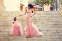 Wholesale Gorgeous custom made cute pink wedding flower girls dresses tulles ruffles layered applique lace floor length princess ball gowns