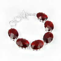australia chain - Luckyshine Oval Oval Fire Garnet Classic Sterling Silver Plated Chain Bracelets Russia Australia USA Bangles Bracelets Jewelry